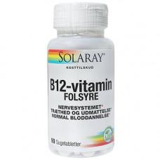 Solaray - B12 Vitamin med Folsyre 90 Sugetabletter