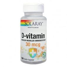 UDSOLGT TIL MEDIO MARTS Solaray - D-Vitamin 30 Mcg 100 Kapsler
