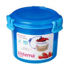 sistema - Madkasse breakfast to go + lille ske blå pink limegrøn