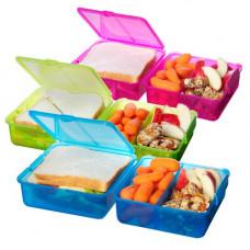 sistema - Madkasse lunch firkantet blå pink limegrøn
