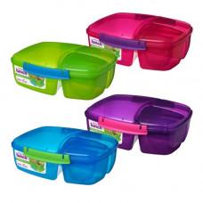 sistema - Madkasse med 3 rum yoghurt bæger blå lilla lime pink