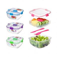 sistema - Madkasse til salat + dressing bøtte Blå lilla pink grøn