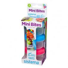 sistema - 3-pak mini bites to go i Grøn blå pink