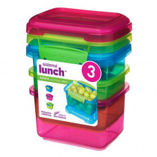 sistema - Opbevaringsboks 3-pak blå pink grøn