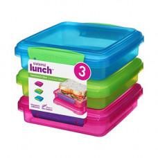 sistema - Opbevaringsboks Sandwich 3-pak blå pink grøn