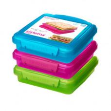 sistema - Sandwich box blå pink limegrøn