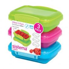 sistema - Opbevaringsboks 3-pack Blå pink grøn
